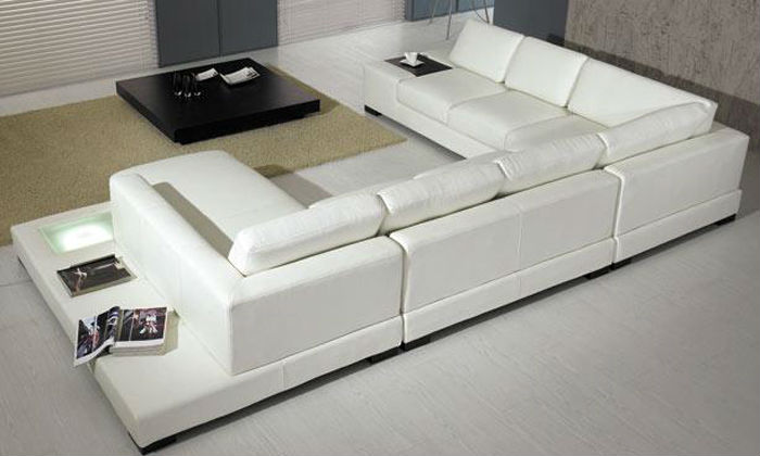 2013 Euro Design Modern Sofa Large Size L Shaped Corner Leather Sofa Classic White Leather with light wooden sofa 9110-20