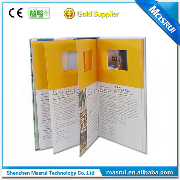 Hot Sale Small order high quality printing magazine with LCD video palyer