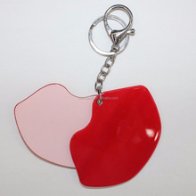 1458 red lip pocket acrylic mirror with keychain