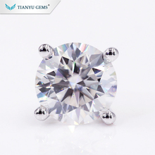 Tianyu Gem Wholesale Solid Gold Jewelry 2.0CTW Round Cut Martini Stud Moissanite <strong>Earrings</strong> For Ladies