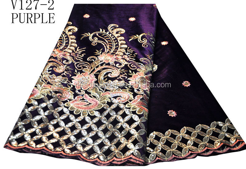 V127-2-PURPLE latest beautiful and nice design embroidery velvet fabric