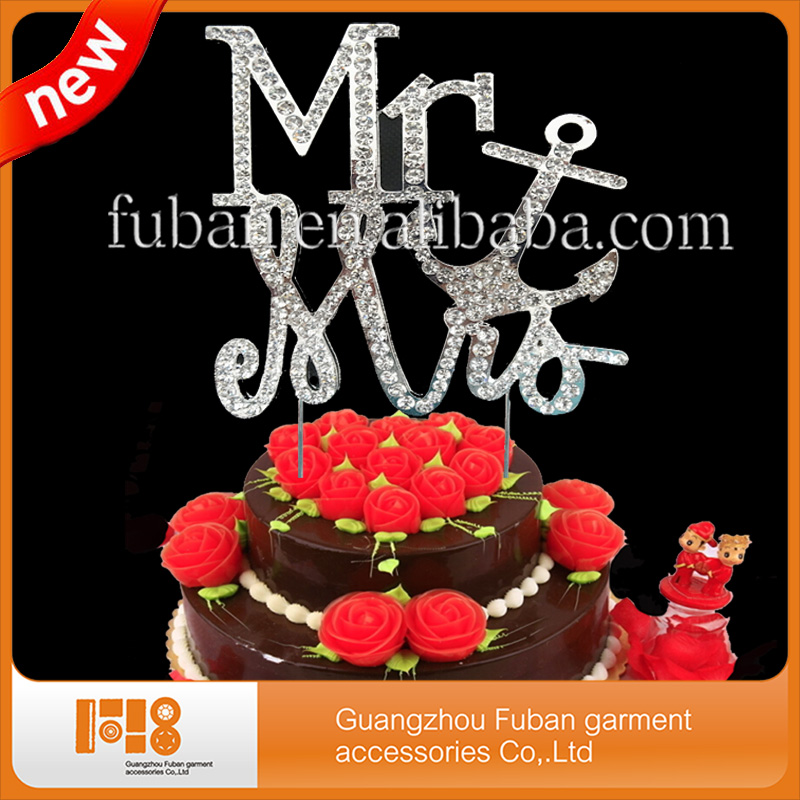 Mr & Mrs Rhinestone Cake Decorating Topper Letter A B C D ...
