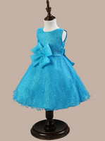 baby girls dresses beautiful plain dyed blue ball gown party flower dress for kids