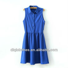 Pleated skirt is placed with the waist chiffon dress china clothing company
