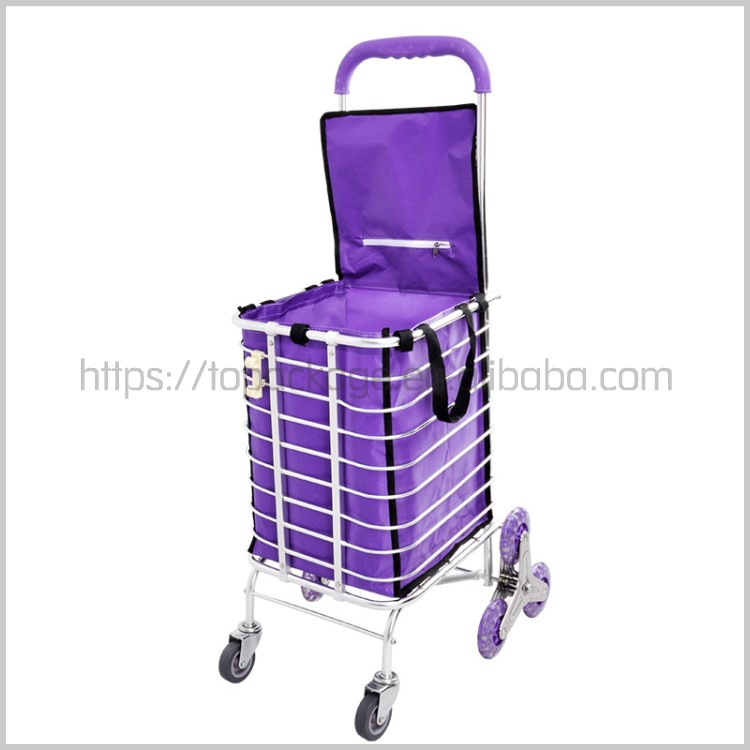 Supermarket equipment recycled polyester fabric folding trolley shopping bag