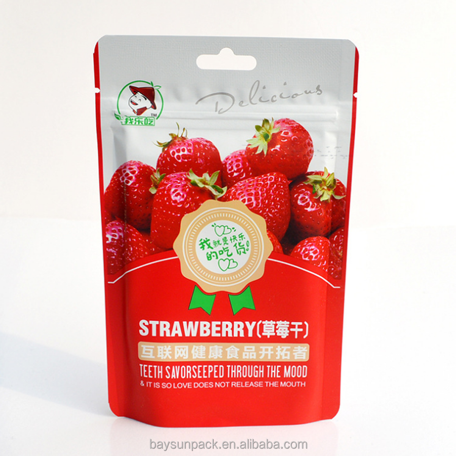 China suppler casual food dried fruit Strawberry mango apple bag hole customized aluminium foil biodegradable seal pouch zipper