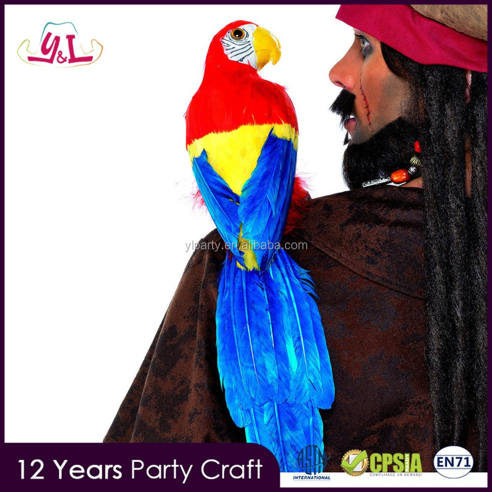 "2017 New Premium 20"" PIRATE PARROT ON SHOULDER MACAW BIRD SKULLY PIRATE COSTUME PROP ACCESSORY Parrot Birds for Sale"