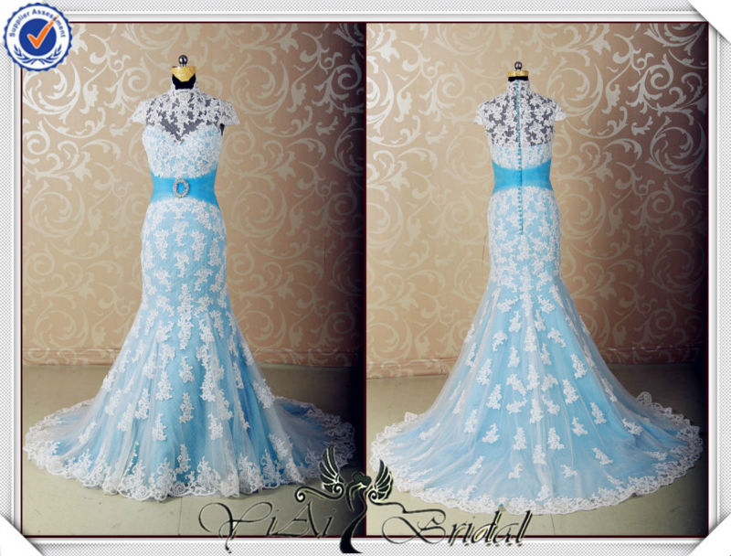 JJ3555 Halter light blue and white wedding dress with blue accents ...