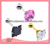 ST01035 body jewelry ball length with square crystal stud earrings