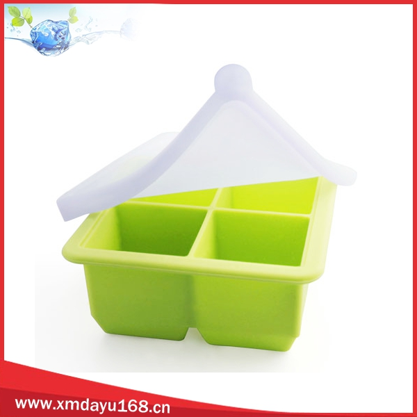 4 cavity silicone ice cube tray with lid