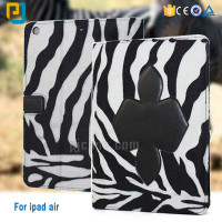 Zebra stripes blanket luxury high quality pu leather case for ipad air flip stand cover case