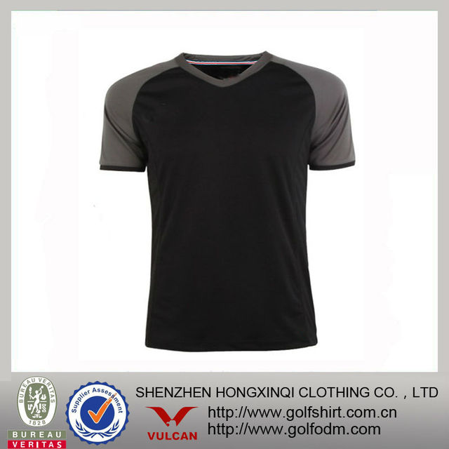 Color Combinations V Neck Combed Cotton Spandex Men's Sport t shirt Short Sleeve