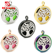 30MM Tree Of Life Floating Charm Locket Necklace Essential Oil Diffuser Locket Pendant Make Of 316 Stainless Steel Jewelry