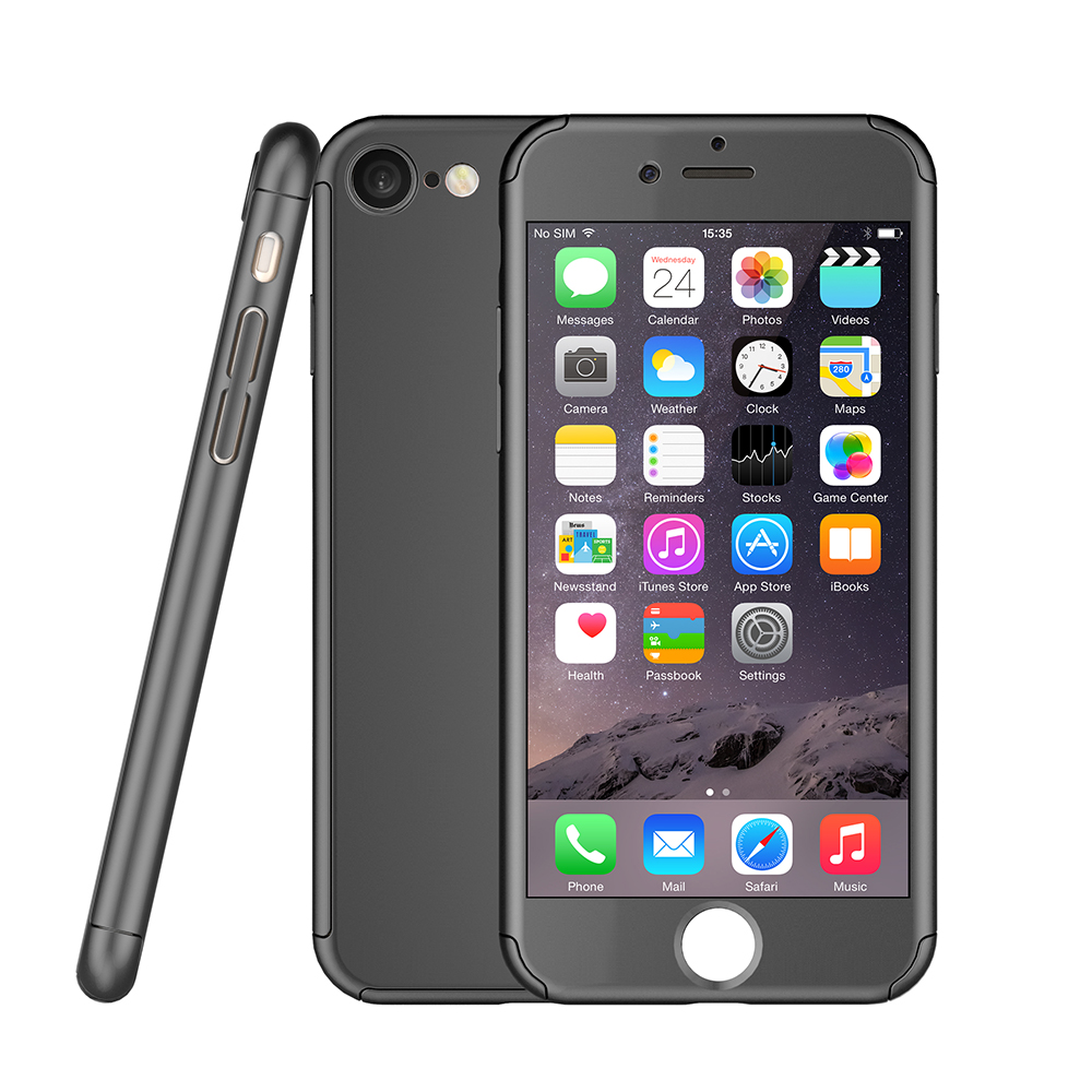 360 degree slim hard plastic cell phone case with tempered glass PC cover for iphone 7 & 7 plus