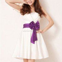 lady wear off shoulder white elegant short cocktail Dress