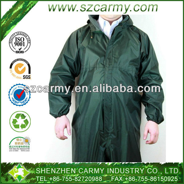 Men's Plus Size Oliver Green Super Quality Waterproof and Windproof One piece Overall Rain Coat