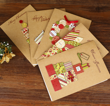 Kraft paper handmade creative christmas card,christmas greeting card