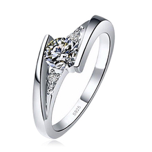 Promotion Pakistan Price Solid Simple Design Diamond stone jewelry Couple 18k White Gold Plated engagement Ring