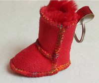 keychain snow boot promotional gift plush shoes promotion items shoe with fluff