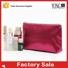 rose red satin fabric wholesale satin promotion cosmetic bag makeup bag