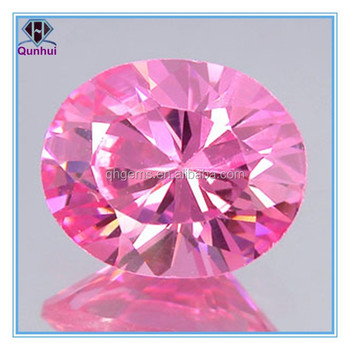 charming oval shaped pink cubic zircon gemstone