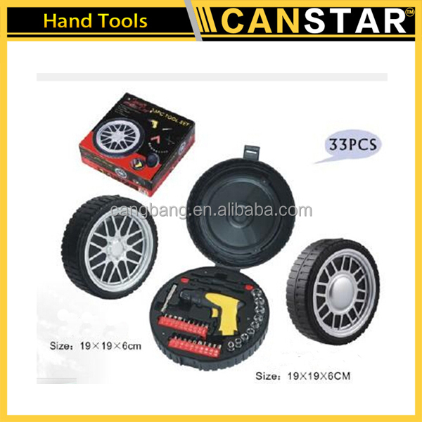 High quality 33pcs car repairing tool tire shaped hand tool set for promotion