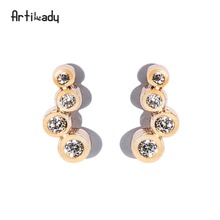 Artilady YiWu wholesale hot sale fashion jewelry delicate cheap zircon ear stud cuff earrings women