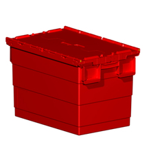 600x400x412mm Heavy duty PP plastic storage logistic container tote box with hinged lids