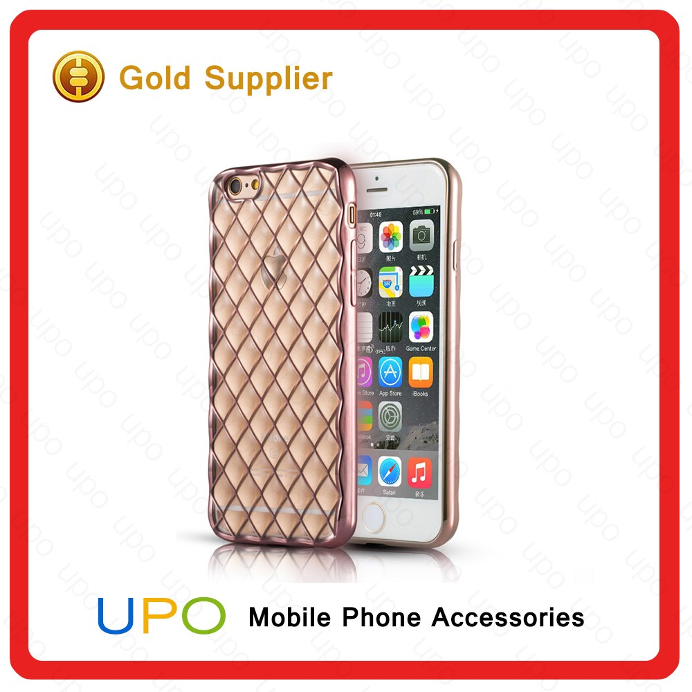 [UPO] High Quality 3D Diamond Giltter Electroplate Soft Clear TPU Mobile Phone Cover Case, Phone Accessory Case for Iphone 6s
