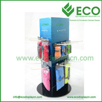 Three sides rotating cardboard display for towel , cardboard counter display with hooks