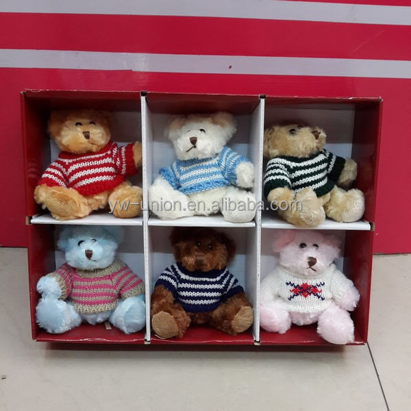 10cm excellent quality show box teddy bear pattern toys with T-shirt