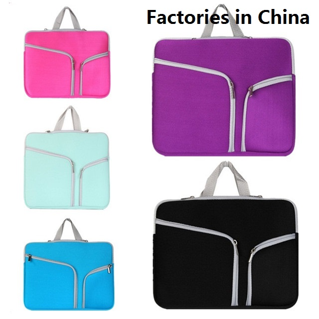 Custom zipper laptop sleeve with handle cheap laptop bag neoprene