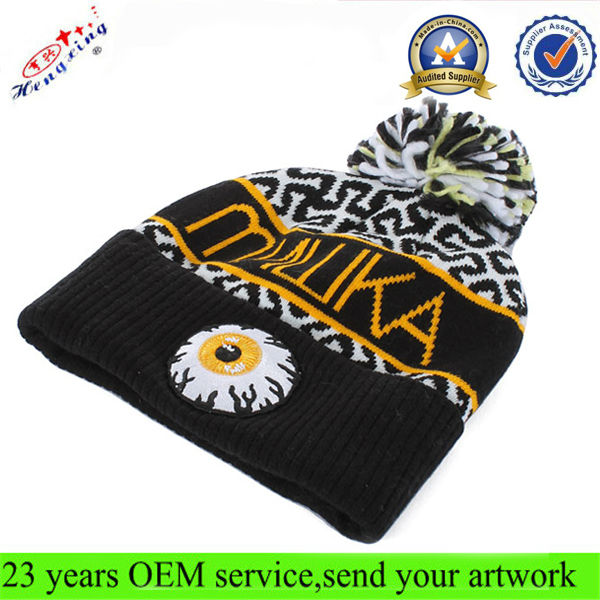 Fold up custom embroidered beanies manufacturers/beanie hats with top ball/custom made jacquard beanie