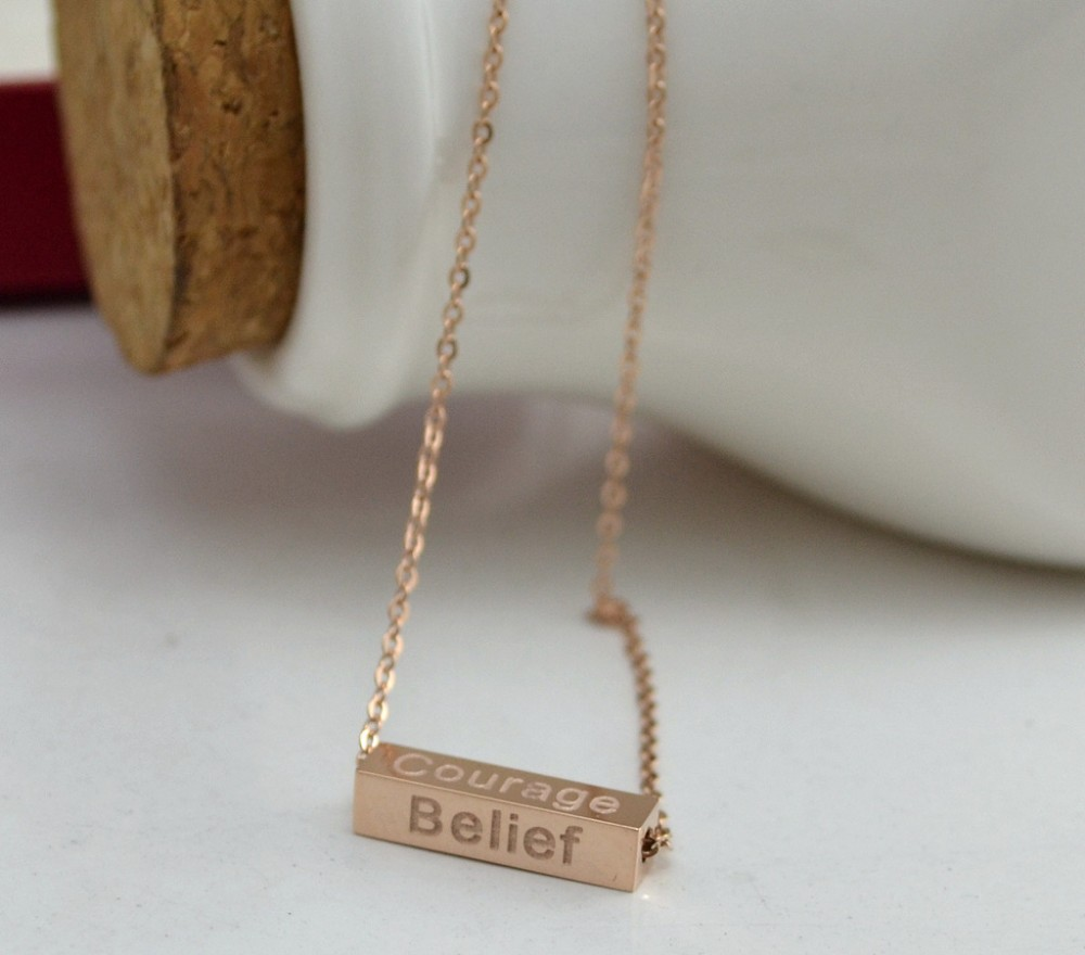 Fashion Design Rose Gold Plated English Initial Engraved Stainless Steel Necklace for Unique Delicate Gift