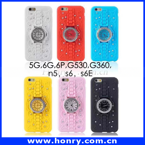New products case for phone for iphone 6 bling diamond case with watch