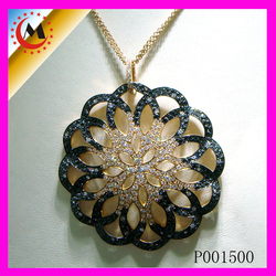 HIGH QUALITY CHARMS SPANISH JEWLERY GOLD PLATED BLACK PENDANT CRYSTAL