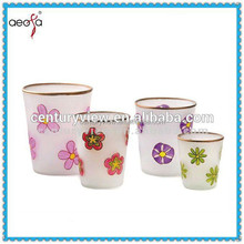 Hot selling elegant decorative glass flower pot paintings price