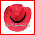 Cheap straw cowboy hat red straw cowboy hat with black ribbon band