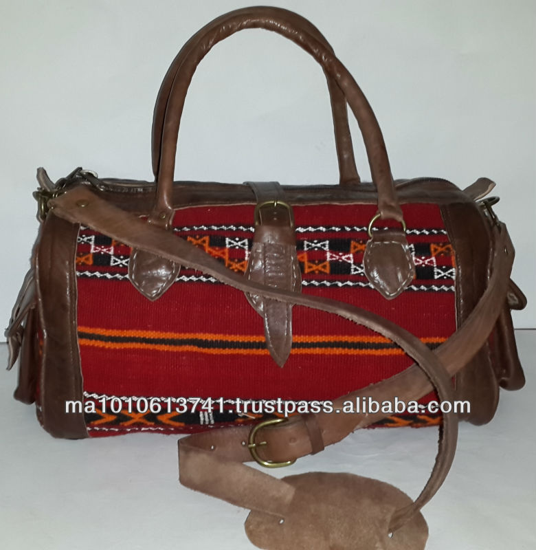 Handmade moroccan red kilim bags and genuine leather