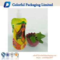 Custom printed high quality reusable food pouch with spout and metal hang hole for juice packaging in outside activities