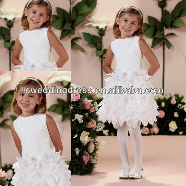 HF2102 Cute white sleeveless elegant lace appliqued top satin handmade organza flowers knee length flower girl dress patterns