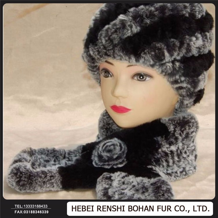 Double Layer Thickness Bamboo Fiber Material Cheap Kitchen Rabbit Fur Russian Hat And Scarf