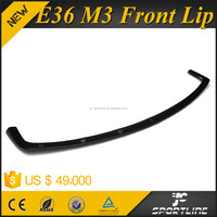 Black Unpainted PU Material E36 M3 Car Front Lip for BMW