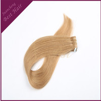 China Factory Light Blonde Color Remy Hair Pu Weft Extension