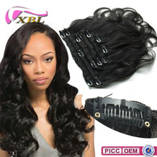 Gold Suppliers Peruvian Human Hair Clip In Body Wave Hair Extensions
