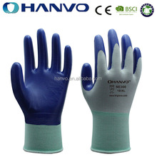 HANVO 13 Gauge polyester Knitted Construction Industry Working Gloves Nitrile Coated Waterproof Safety Glove