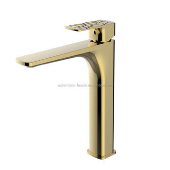 Fashion decorative pattern handle tall basin tap