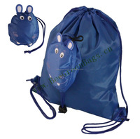 Cute blue hippo polyester cute foldable drawstring backpack bag for kids and school