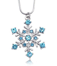 Wholesale zinc alloy metal silver plated snowflake birthstone <strong>necklace</strong>