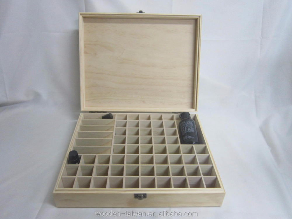 64 removable compartment wooden essential oil box include regular and roller bottle